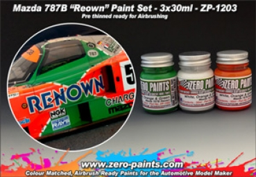 ZEROPAINTS ZP-1203 Mazda 787B Renown Paint Set, 3x 30ml